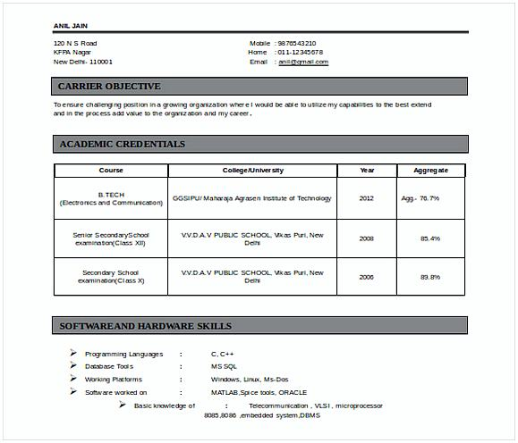 Doc Format Fresherss Electronics Comm Engineering Resume