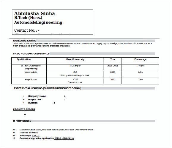 Doc FormatAutomobile Resume Template