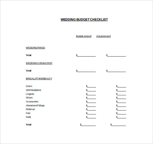Easy To Edit Wedding Budget Template For