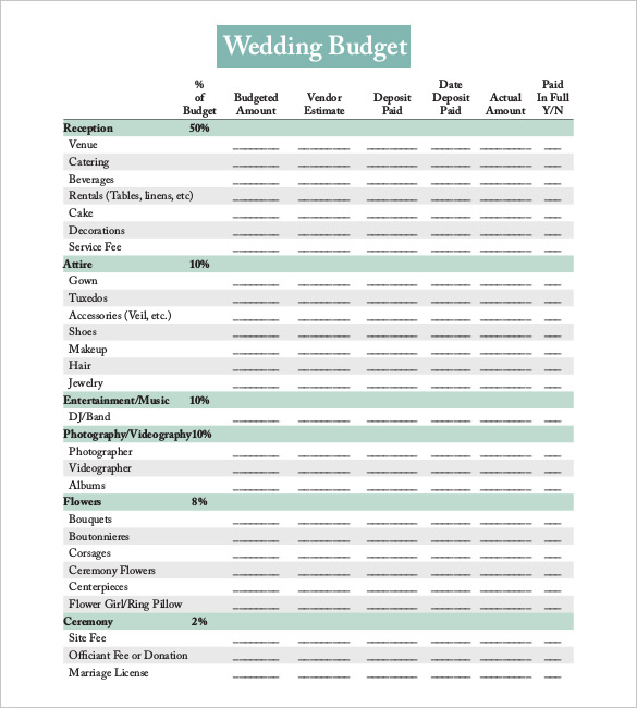 Editable Wedding Budget planner