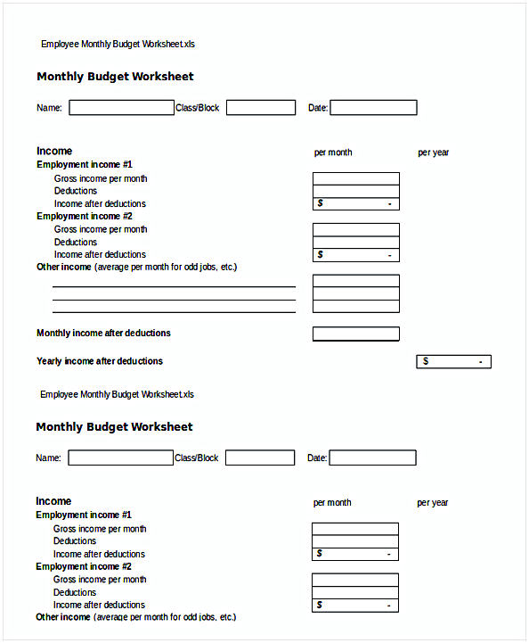 Employee Monthly Budget Worksheet