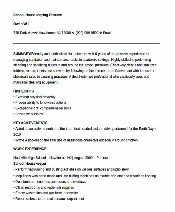 Example School Housekeeper Resume Template