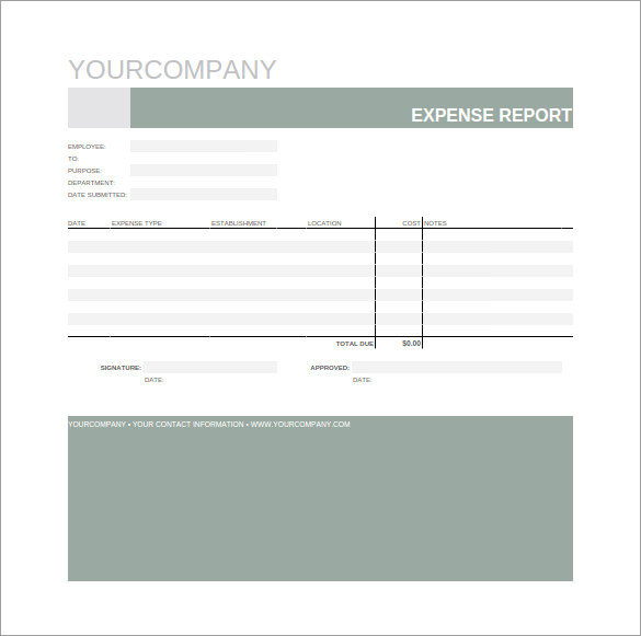Expense Report Spreadsheet Template