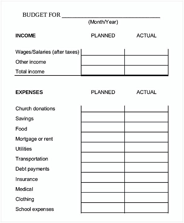 Family Budget Worksheet 1
