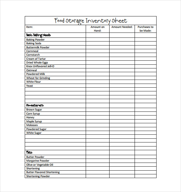 Food Storage Inventory Sheet PDF