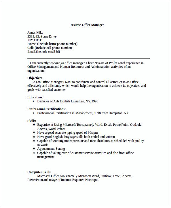 Front Office Manager Resume  Manager Resume Objective