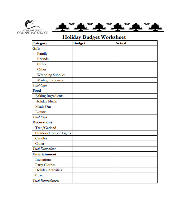 Holiday Budget SpreadsheetPDF Template