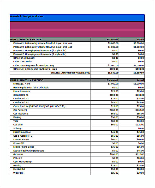 House Hold Budget Spreadsheet