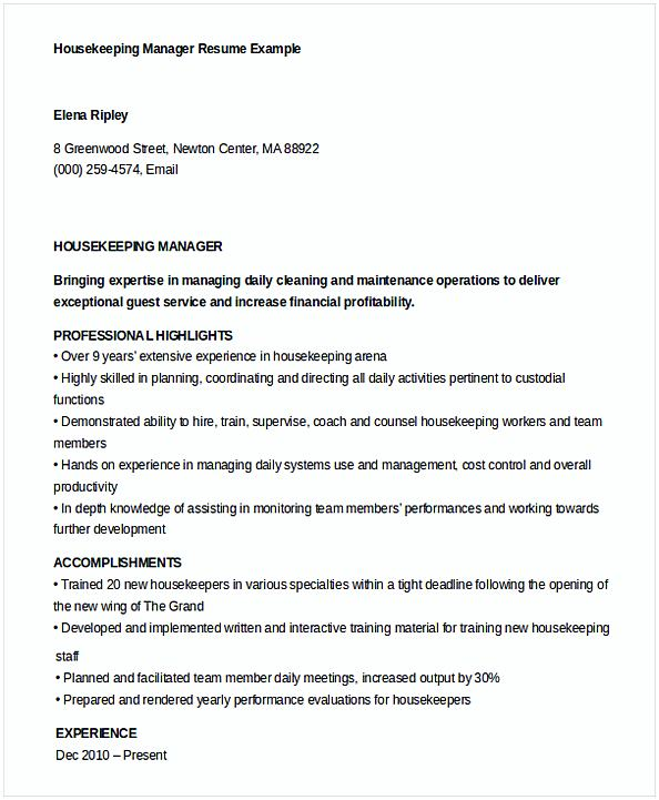 Housekeeper Manager Resume Template Example