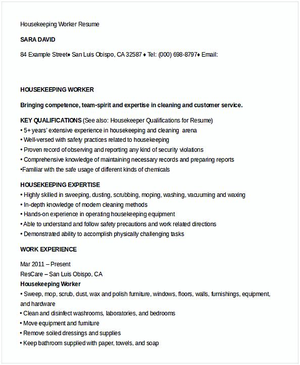 Housekeeping Worker Resume Template