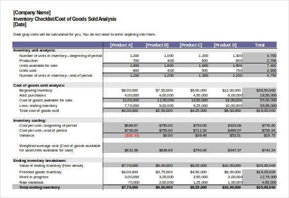 Inventory Analysis Checklist Excel