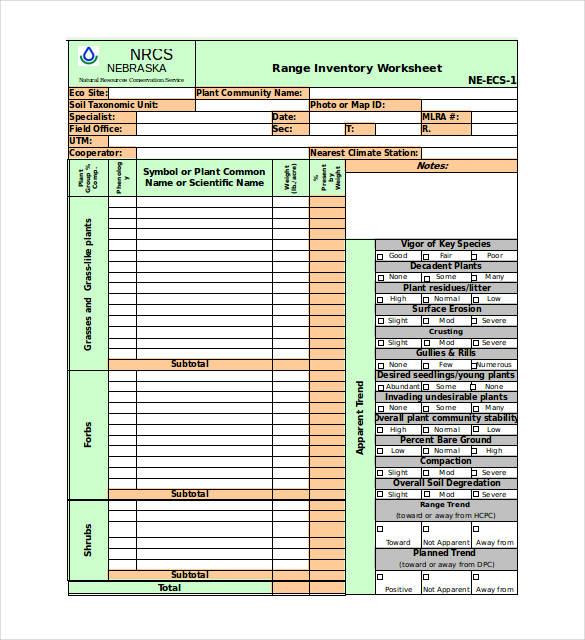 Inventory Worksheet Excel Template