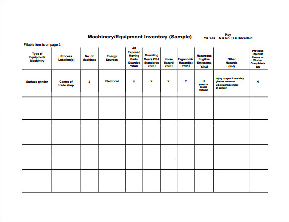 Machinery Equipment Inventory PDF Template