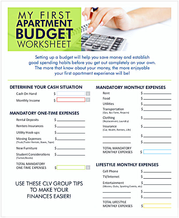 Monthly Apartment Budget Worksheet