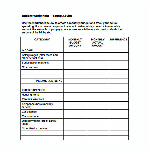 Monthly Budget Spreadsheet for Young Adults PDF