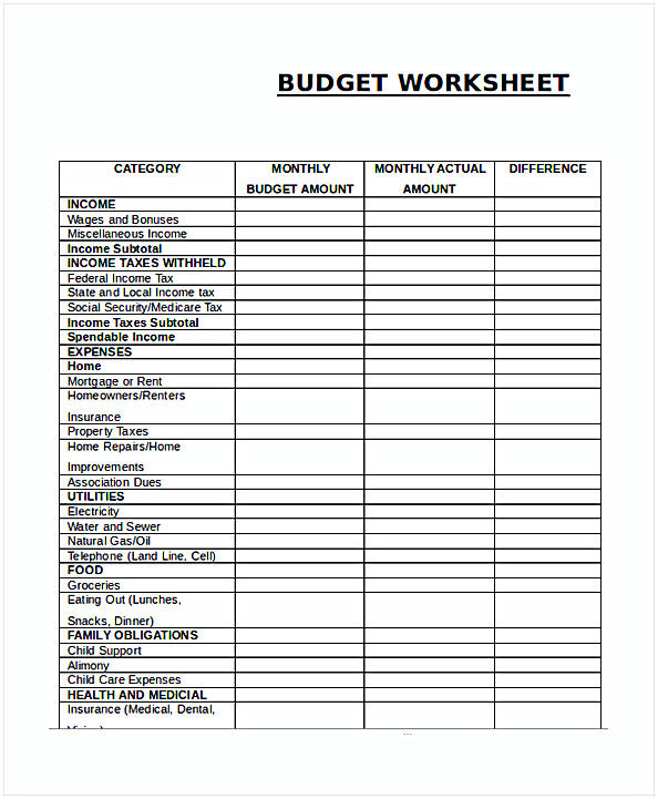 Monthly Budget Worksheet 1