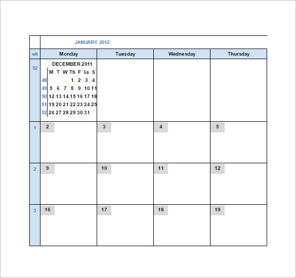 Monthly Calendar Google Spreadsheet Template