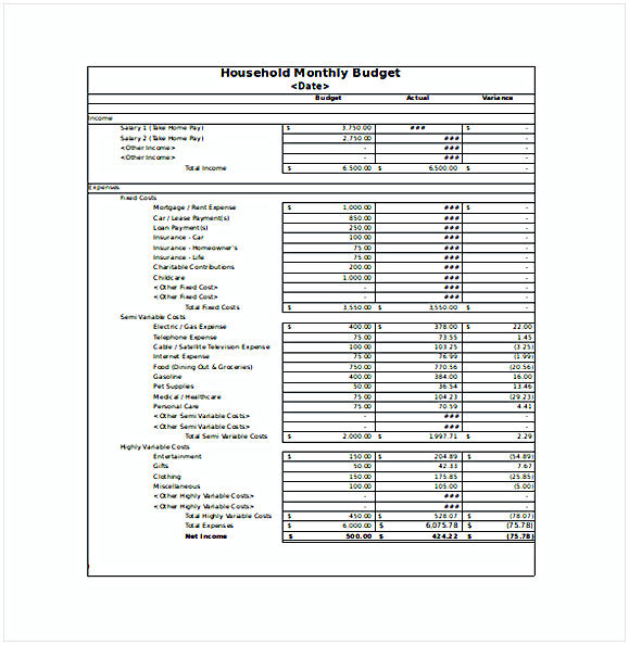 Monthly Household Budget Spreadsheet Excel
