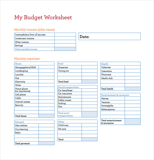 My Budget Worksheet PDF Template