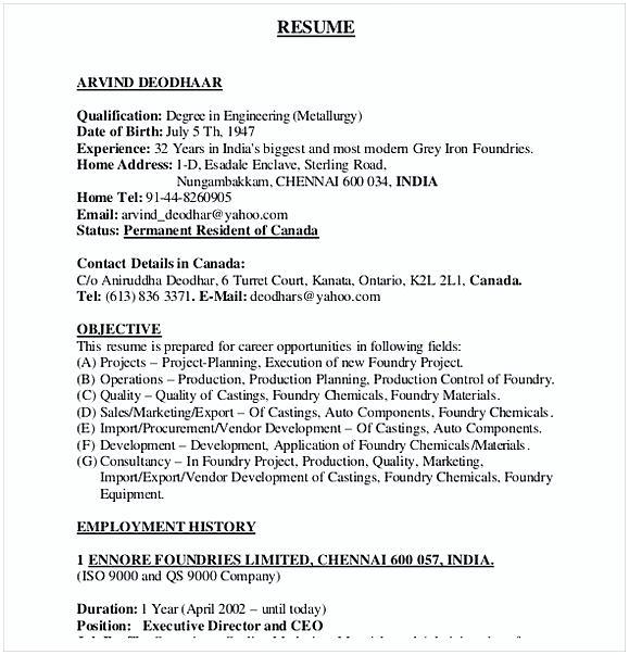 PDF Format Automobile ResumeTemplate