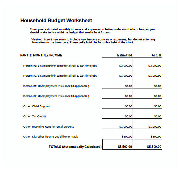 Personal Monthly Budget Spreadsheet Excel Template