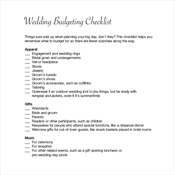 Planed Wedding Budget Checklist For