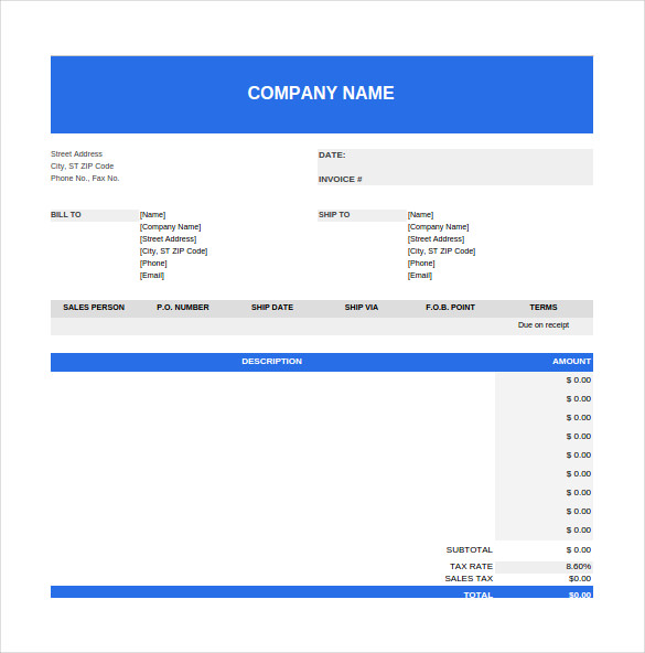 Purchase order Spreadsheet Template