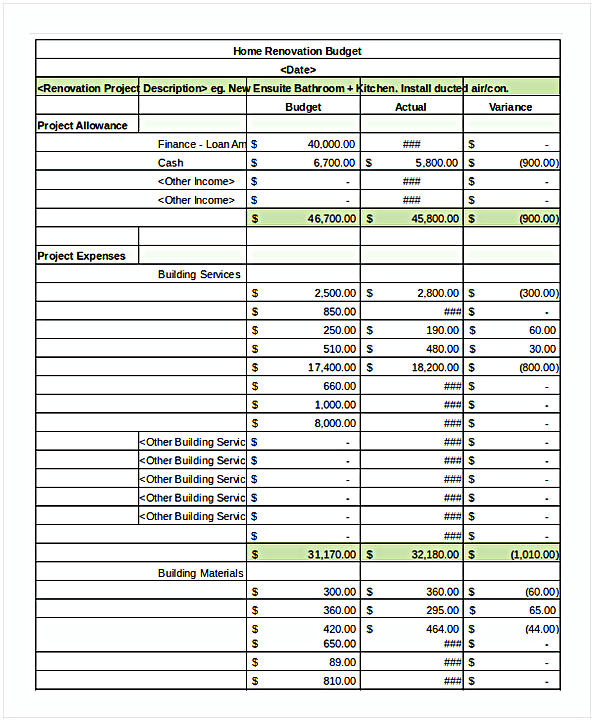 Renovation Budget Spreadsheet Template