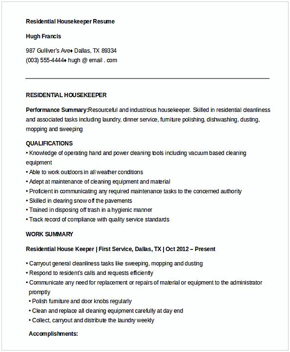 Residential Housekeeper Resume