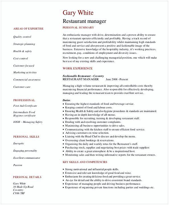 Restaurant General Manager Resume 1