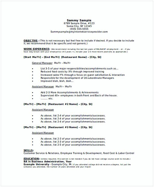Restaurant General Manager Resume 2