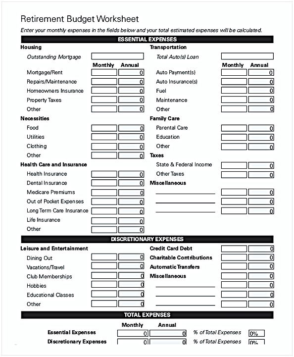 Retirement Monthly Budget Worksheet