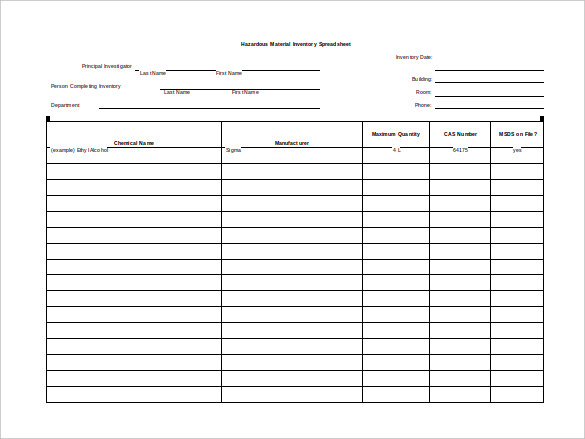 Sample Hazardous Material Inventory Blank Spreadsheet
