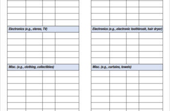 Sample Home Inventory Checklist Template in Pdf