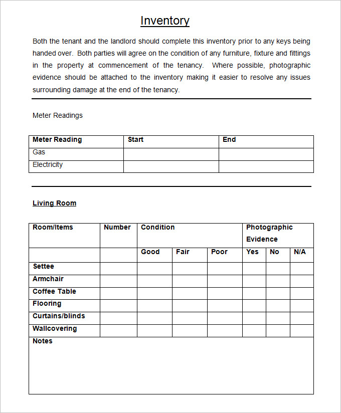 Sample Landlord Inventory Checklist
