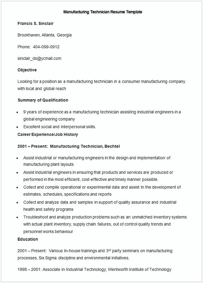 Sample Manufacturing Technician Resume Template