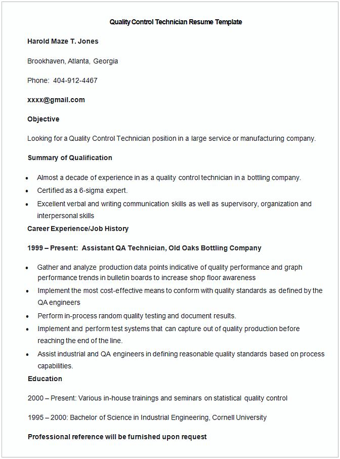 Sample Quality Control Technician Resume Template