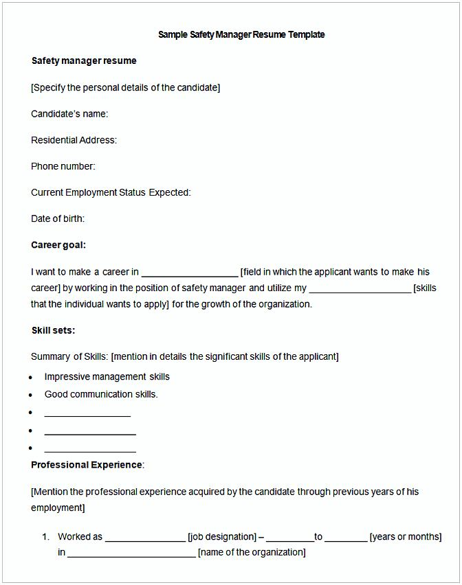 Sample Safety Manager Resume Template.jp