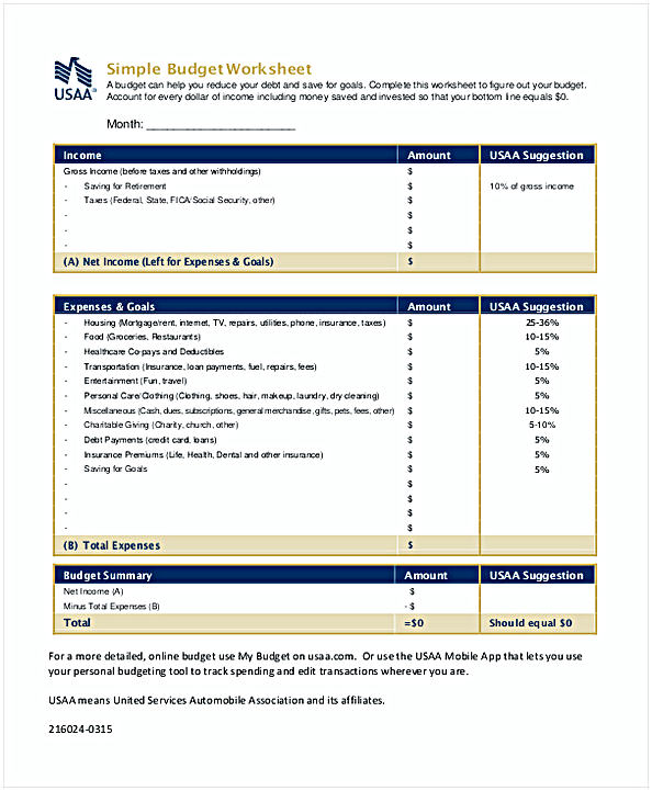 Simple Budget Worksheet Template