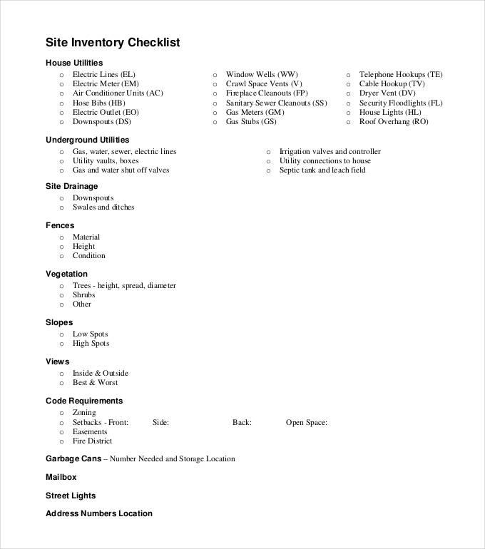 Site Inventory Checklist