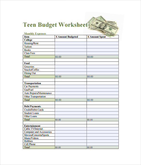 Teen Budget SpreadsheetPDF Template