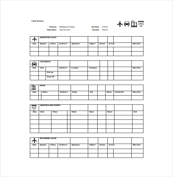 Travel Itinerary SpreadSheet Word Template