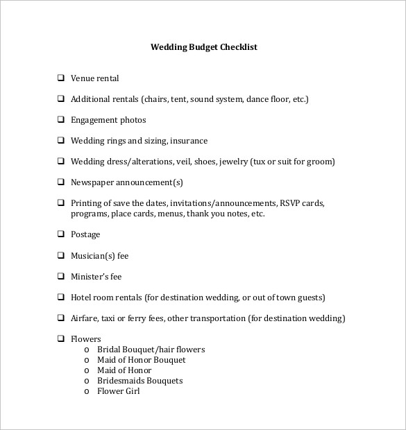 Wedding Budget Checklist Template For