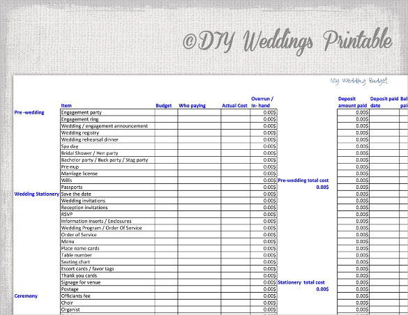 Wedding Budget Spread Sheet For