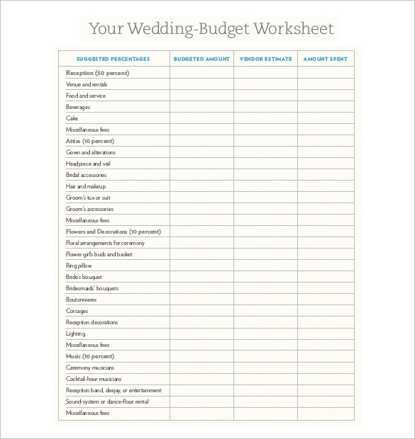 Wedding Budget XL Sheet