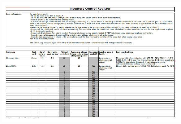 inventory register in excel