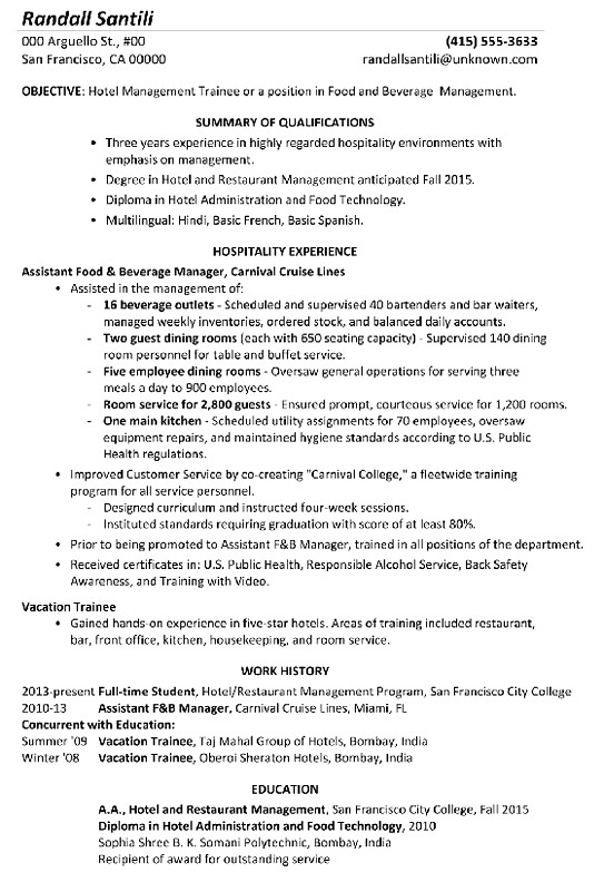 Functional Resume Sample Hotel Management Trainee