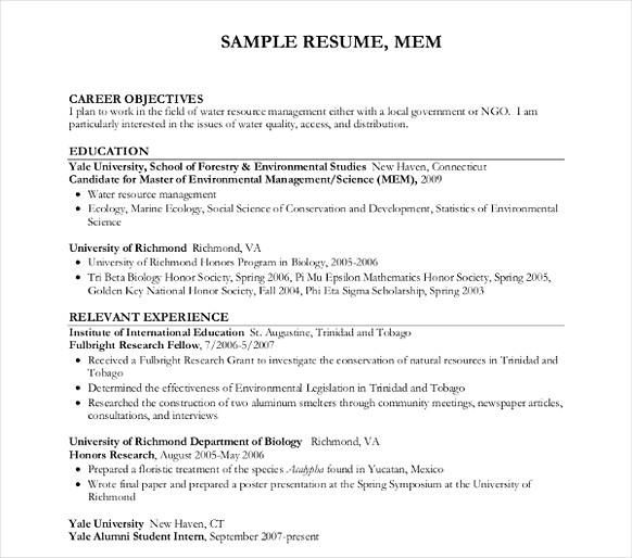 Water Resource Management Resume