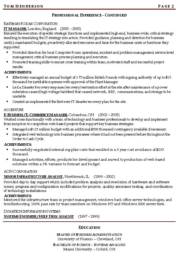 continuity risk managnment resume example