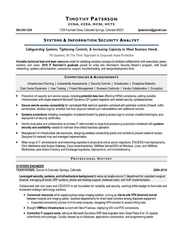 system Information Security Analyst Resume